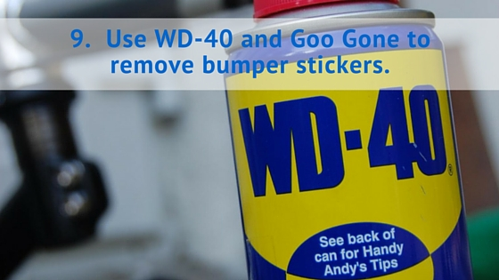Use WD-40 and Goo Gone to remove bumper stickers.