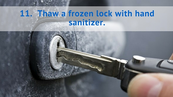 Thaw a frozen lock with hand sanitizer.