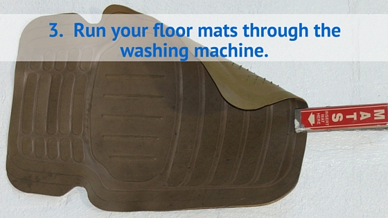 Run your floor mats through the washing machine. Shutterstock image: