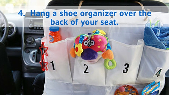 Hang a shoe organizer over the back of your seat.